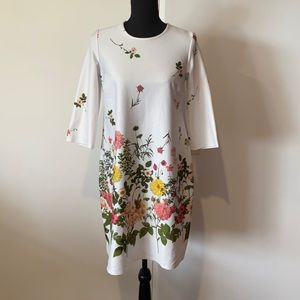 ASOS Womens Floral Dress 3/4 Sleeves Midi Length UK 10 US 6 Pre Owned Polyester